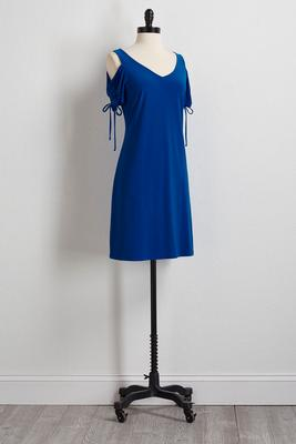 drawstring bare shoulder sleeve dress