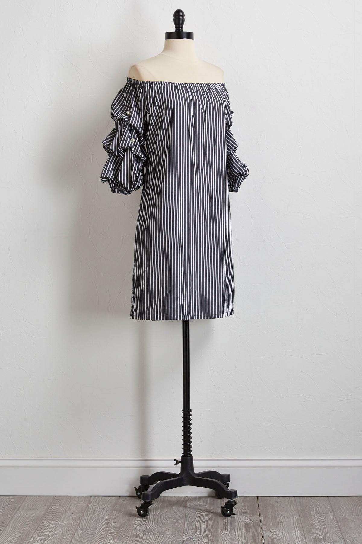Striped Pearl Embellished Dress
