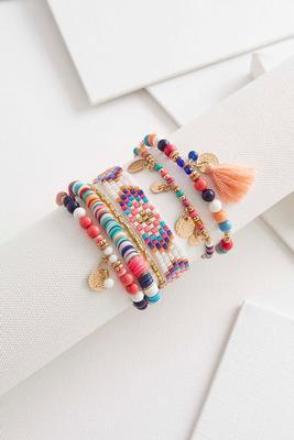 beaded tassel stretch bracelet set