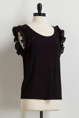 ruffled poplin sleeve top