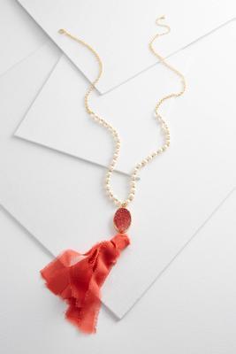 druzy fabric tassel necklace
