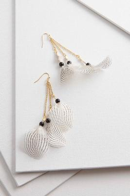 striped dangle feather earrings s