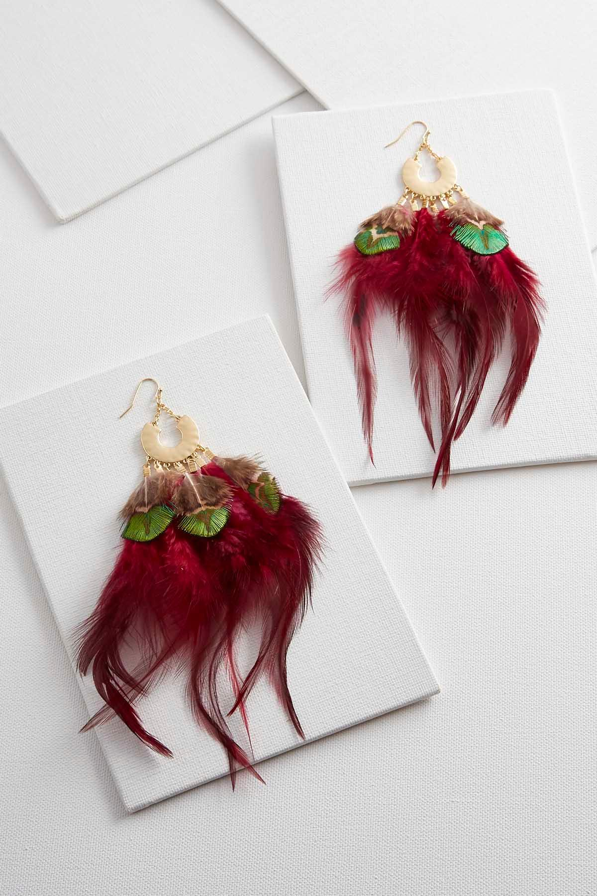 Wild Red Feather Earrings
