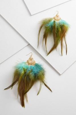 ombe aqua feather earrings s