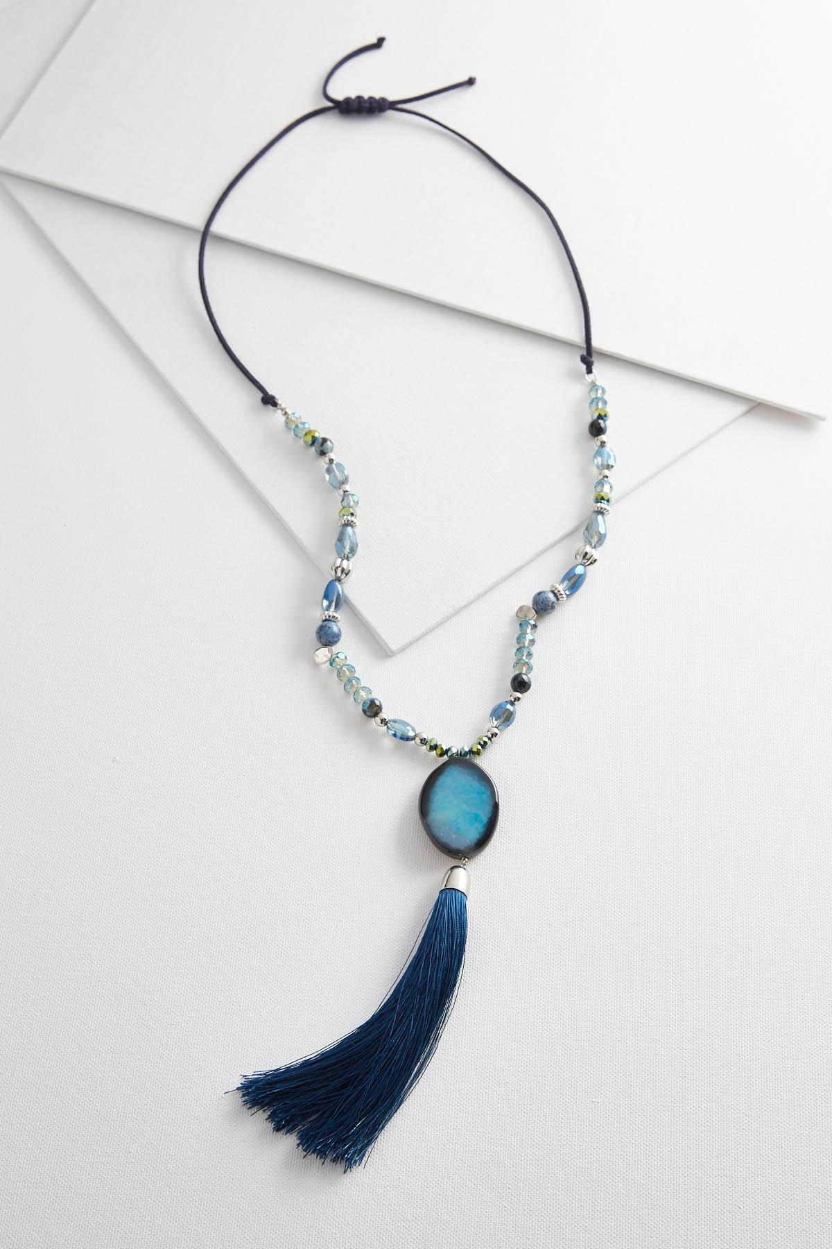Semi- Precious Navy Tassel Necklace