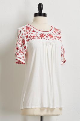 butterfly and floral embroidered top