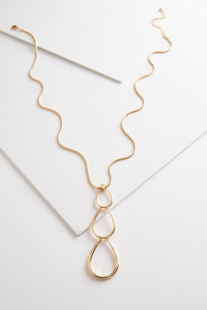 Triple Tear Shaped Pendant Necklace