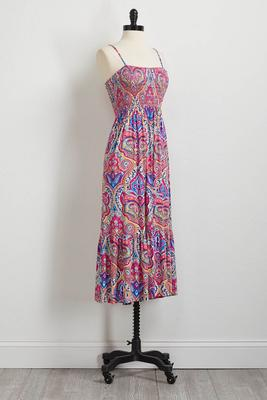 festival paisley smocked midi dress