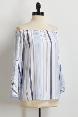 blue stripe off the shoulder top