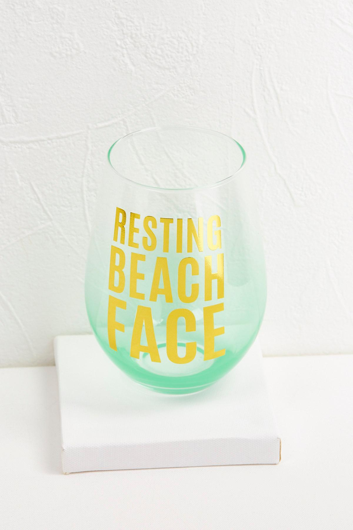 Jumbo Beach Face Wine Glass