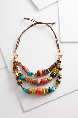 layered safari beaded necklace