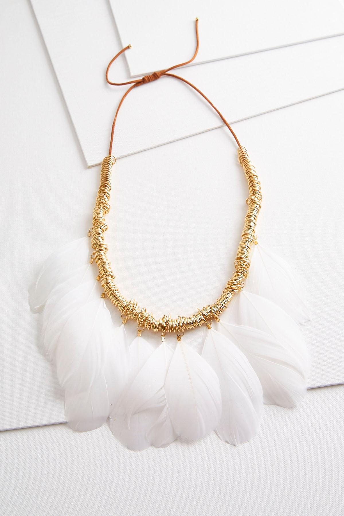 Ring And Feather Bib Necklace