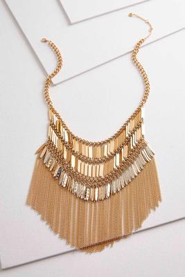 shaky gold fringe bib necklace