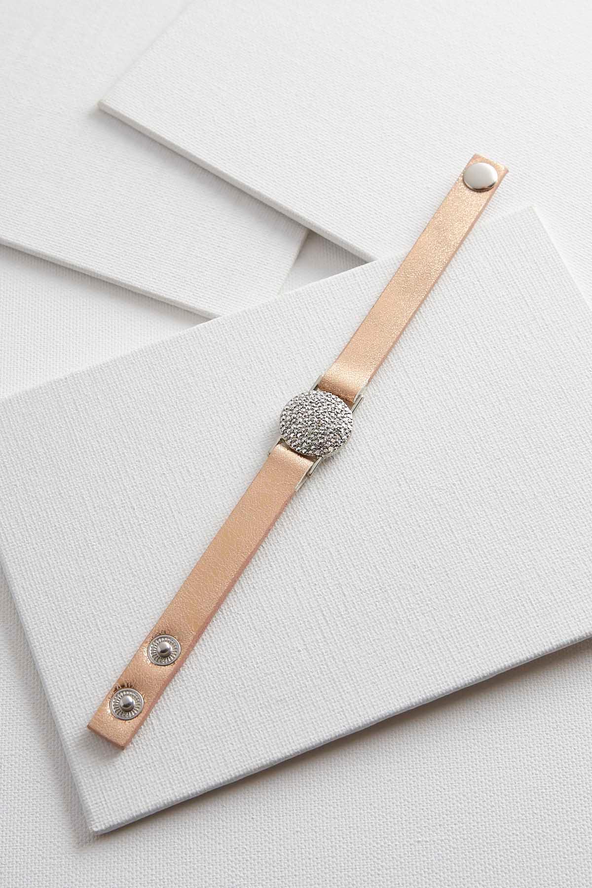 Pave Disk Faux Leather Bracelet