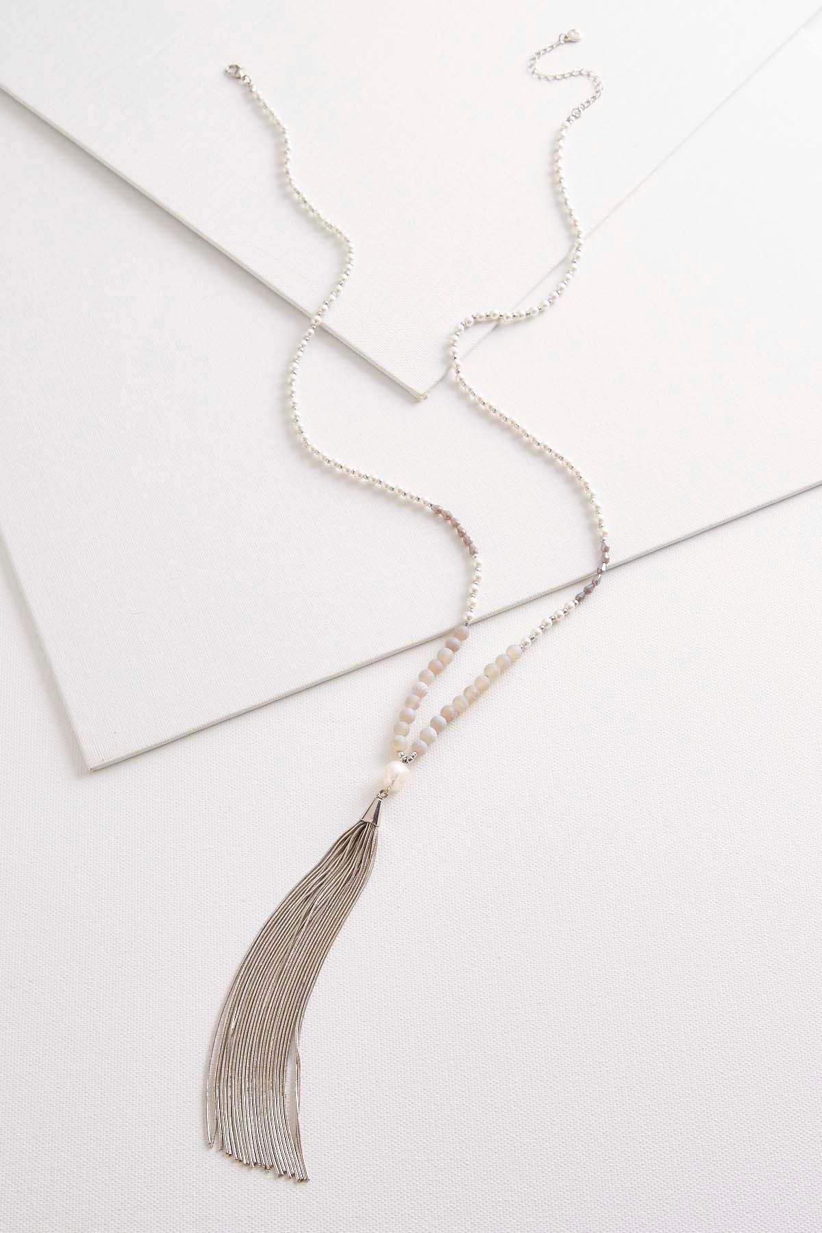 Long Pearl And Chain Tassel Necklace