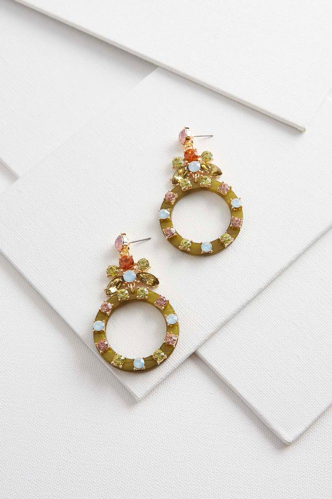 Floral Resin Circle Earrings