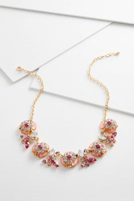 glass flower bib necklace