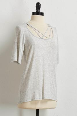 lattice scoop neck tee