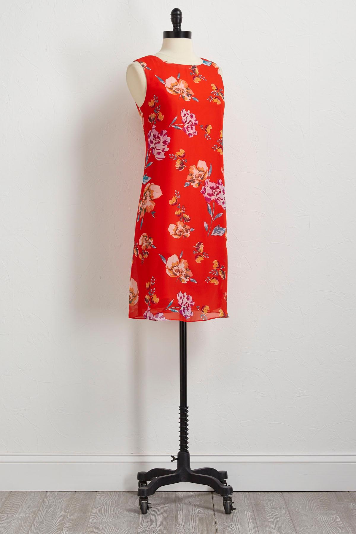 Floral T- Back Chain Shift Dress