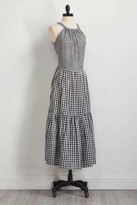 embellished mixed gingham maxi dress