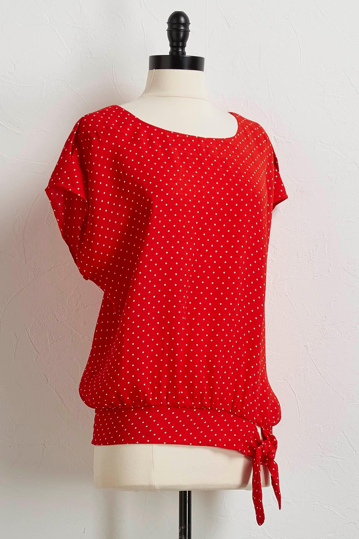 Red Dotted Tie Waist Top