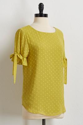 swiss dot tie sleeve top