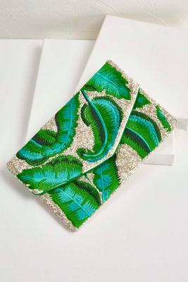 embellished palm leaf clutch