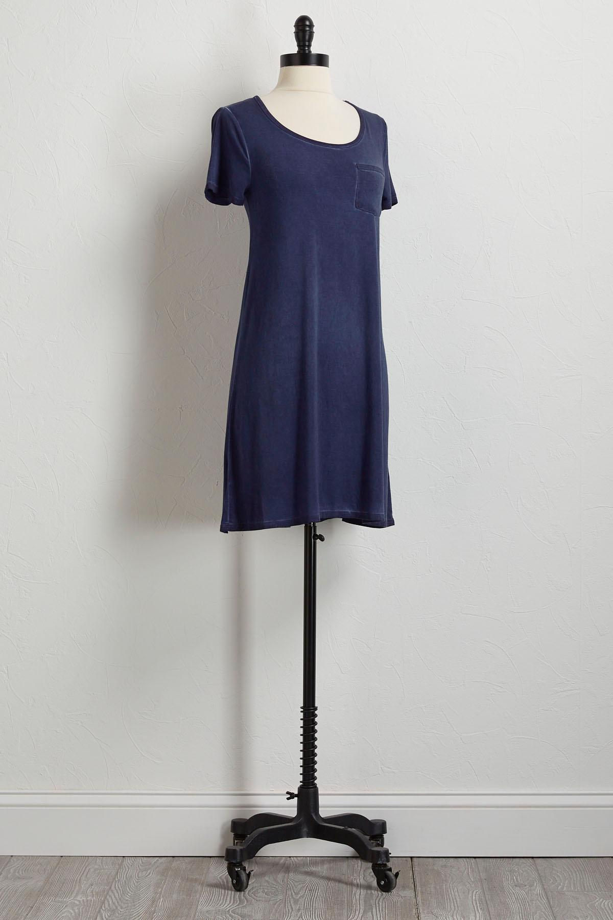 Navy Faded Wash T- Shirt Dress