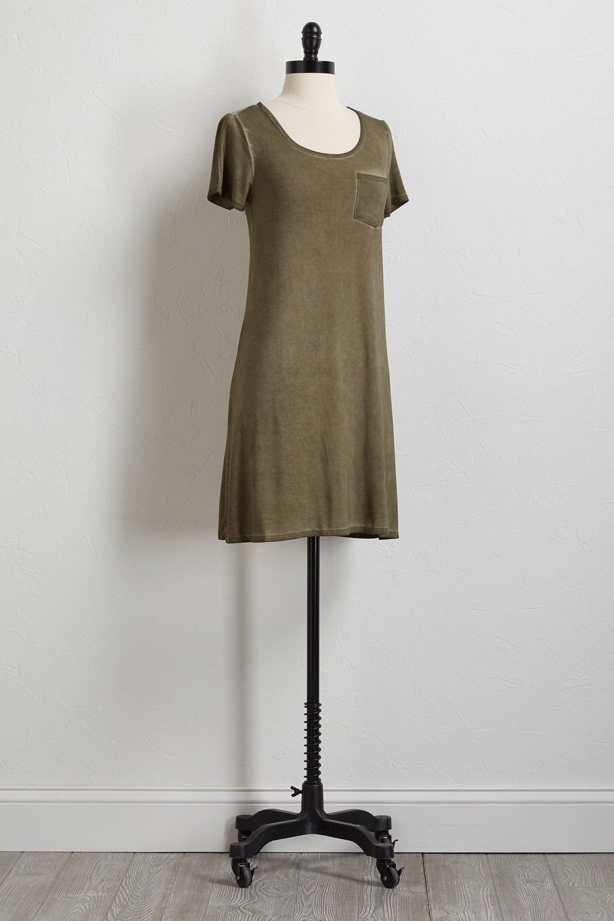 Olive Faded Wash T- Shirt Dress