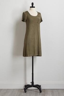 olive faded wash t-shirt dress