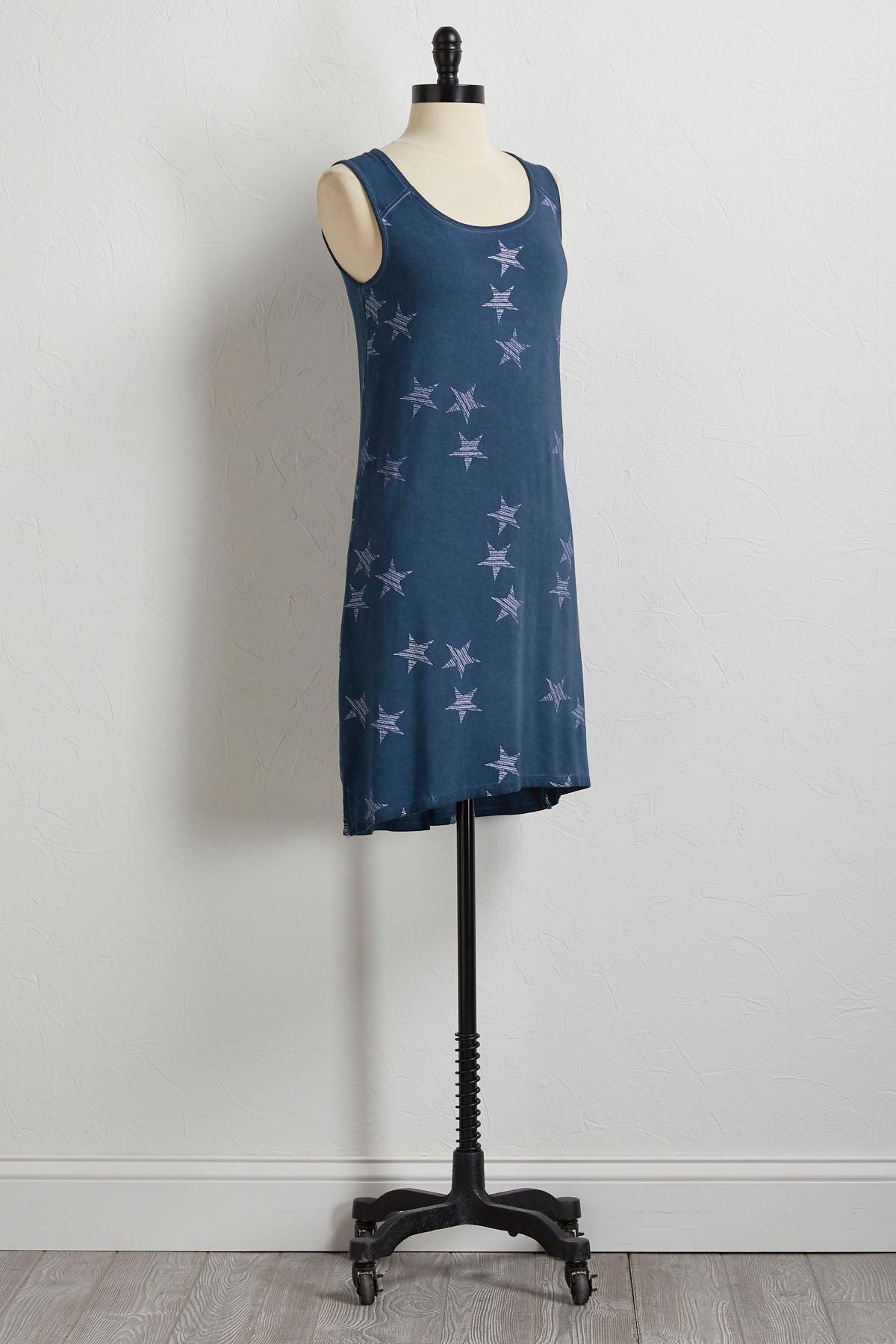 Blue Striped Star Tank Dress