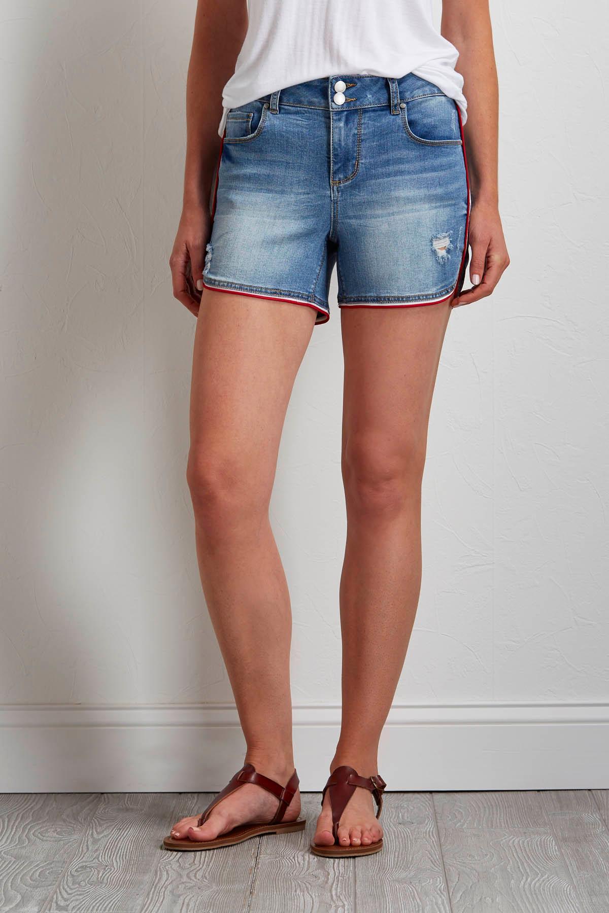 Sporty Striped Denim Shorts