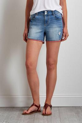 sporty striped denim shorts