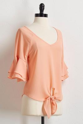 crepe ruffled sleeve tie front top
