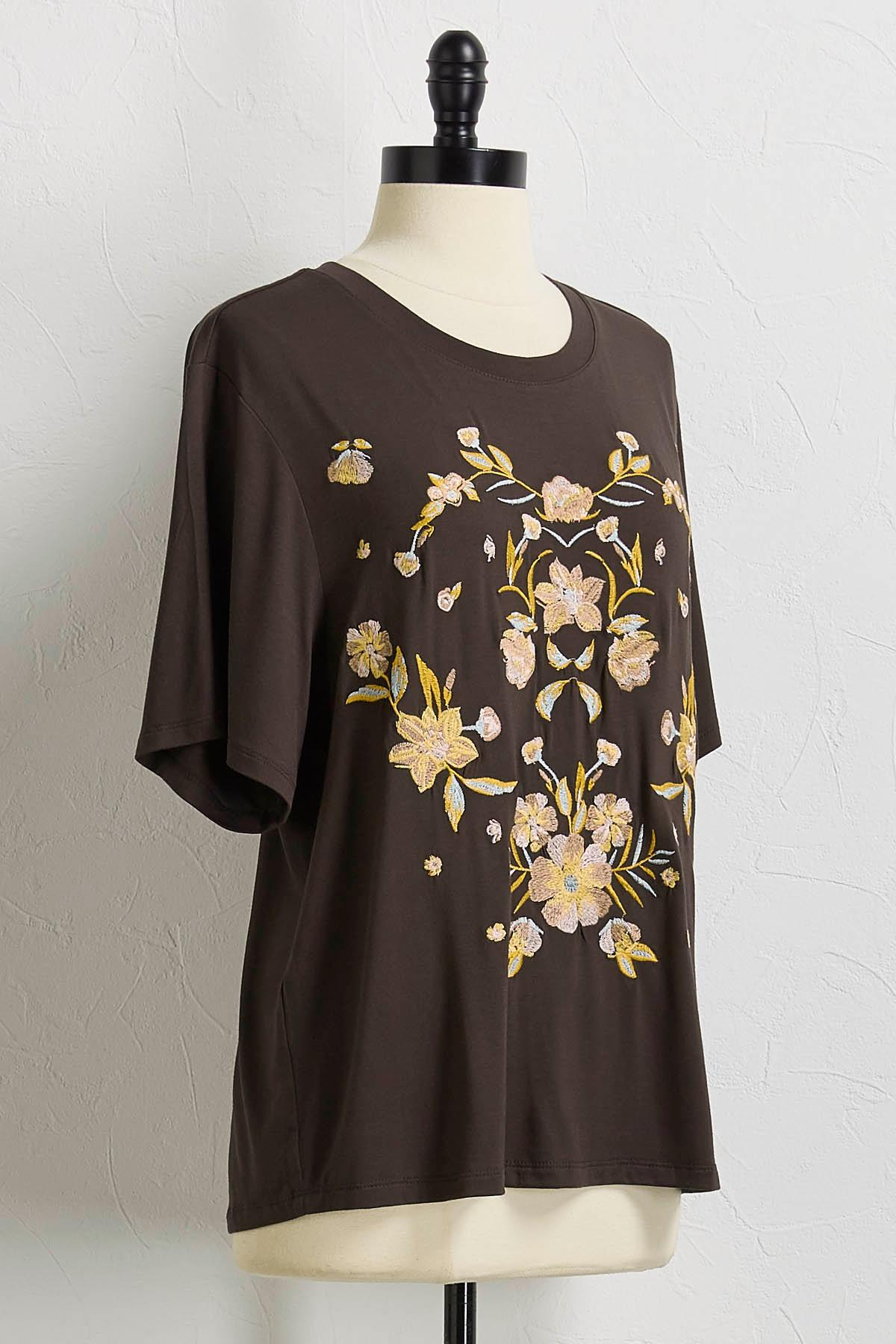 Soft Floral Embroidered Tee