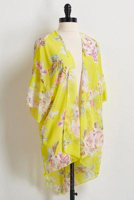 yellow floral high-low kimono