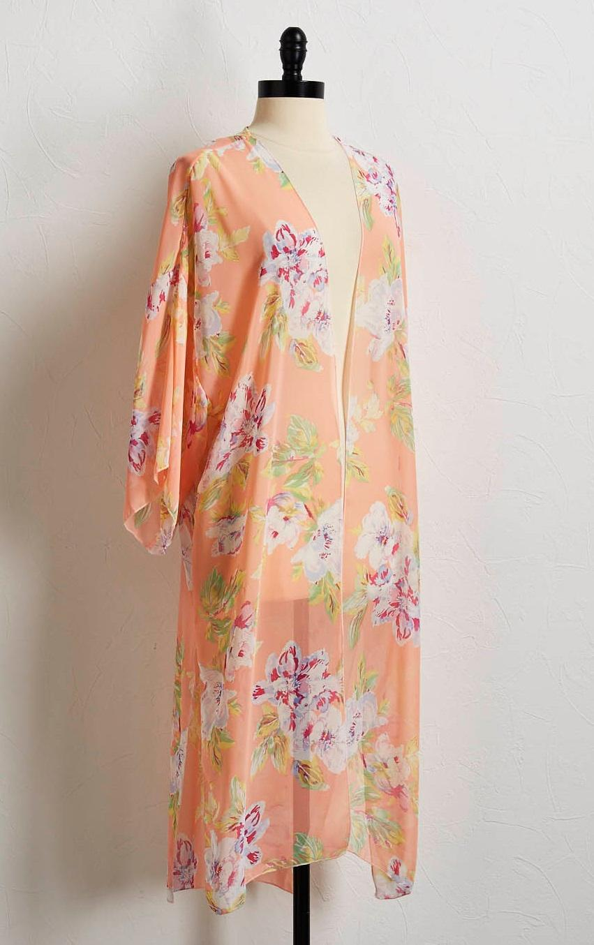 Peach Floral Kimono