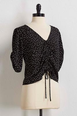 polka dot tie ruched top