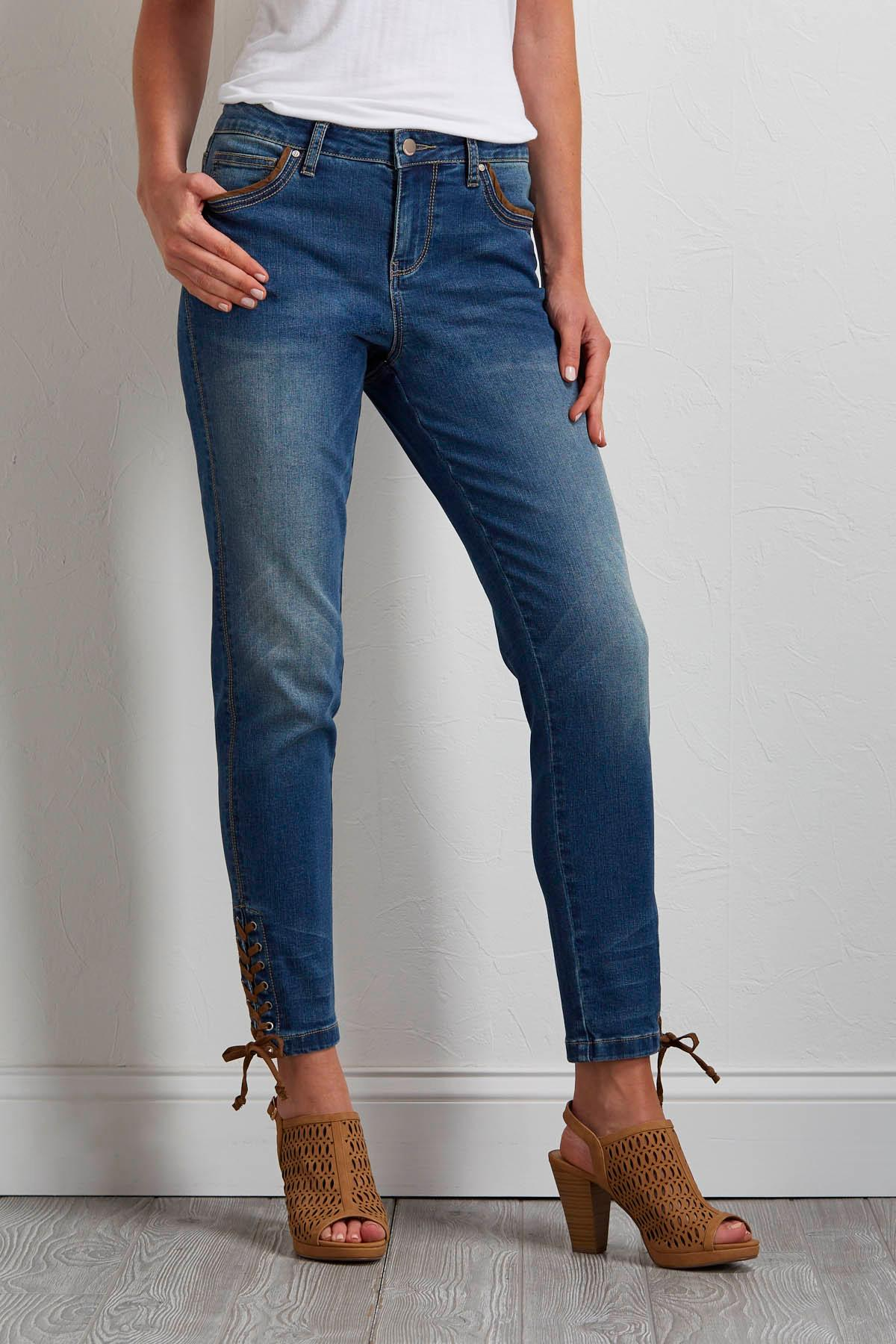 Lace Up Skinny Jeans