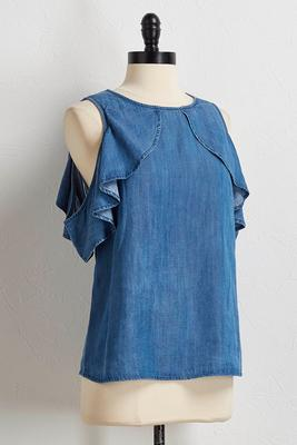 ruffled bare shoulder chambray top