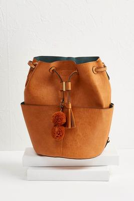 pom-pom crossbody bucket bag