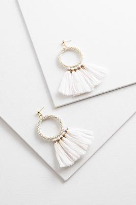 tasseled pearl hoop earrings