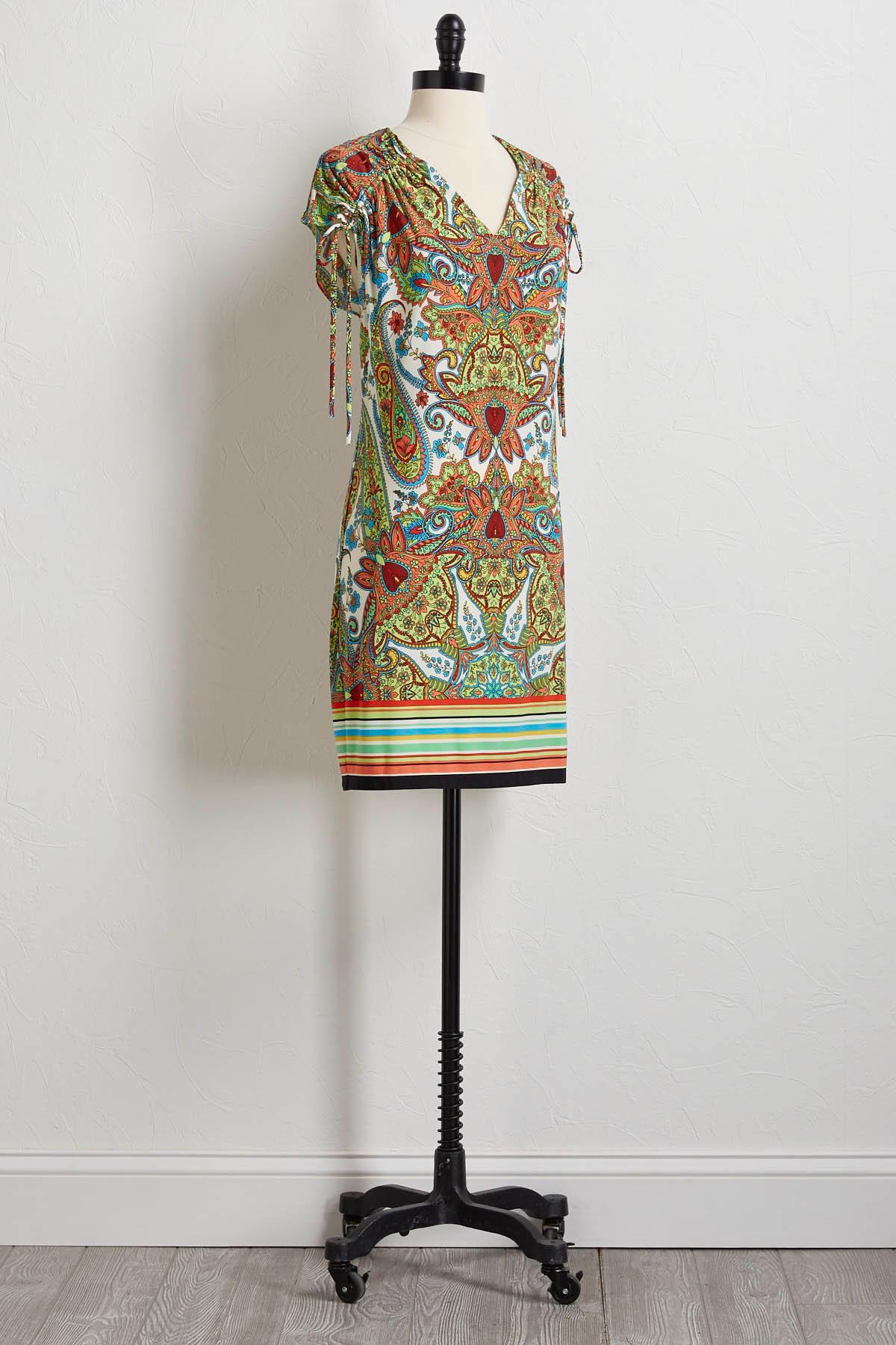 Cinch Tie Sleeves Shift Dress