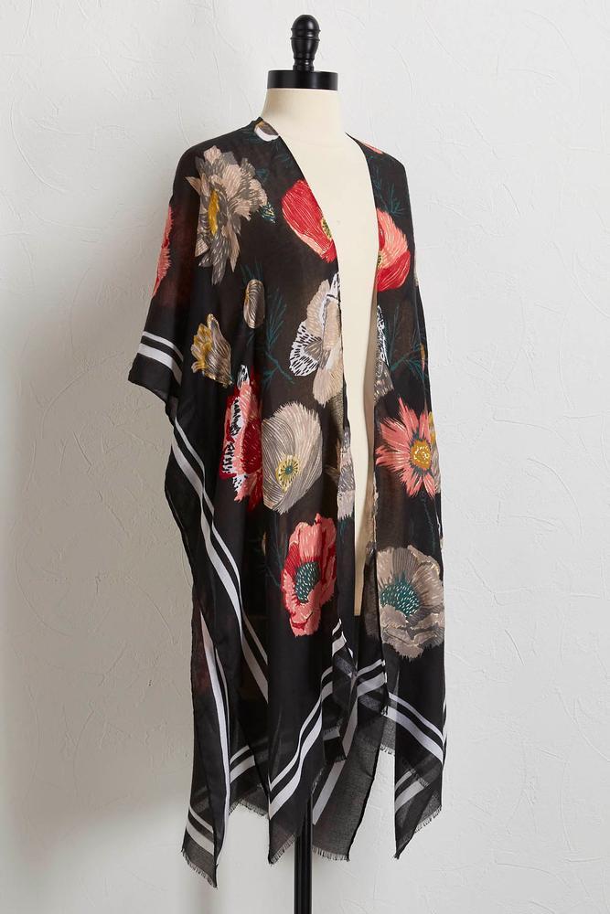 Bordered Floral Kimono