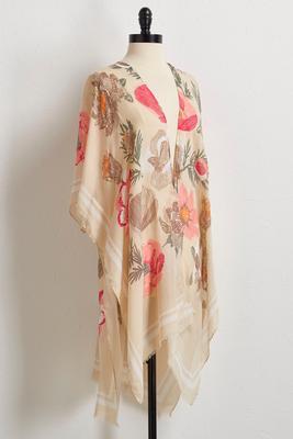 bordered floral kimono s