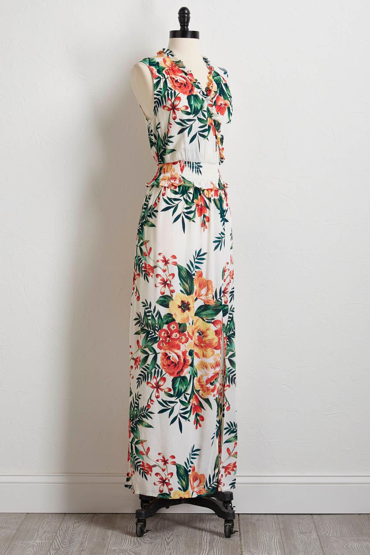 Tropical Smocked Waist Maxi Dress
