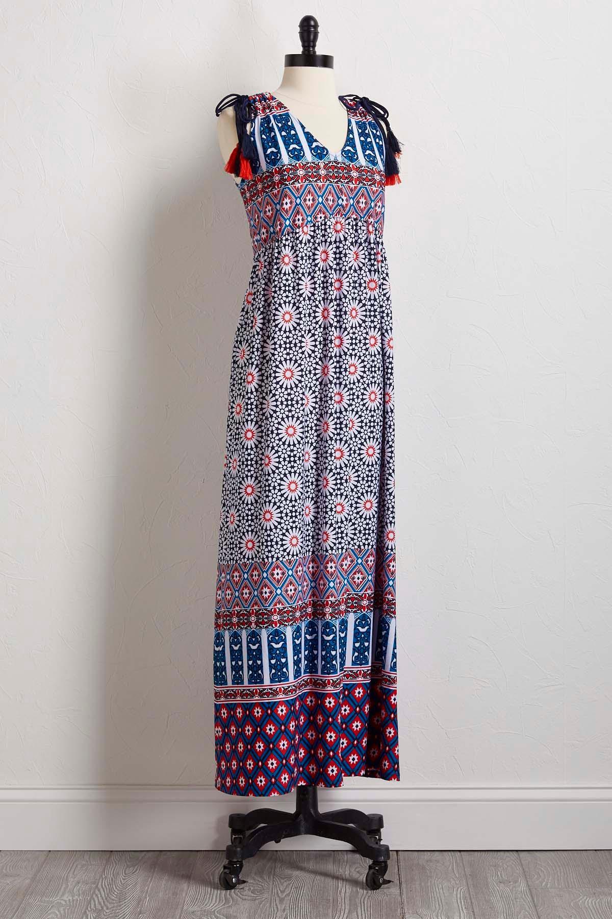 Tie Shoulder Maxi Dress