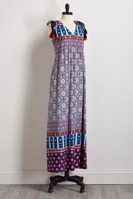 tie shoulder maxi dress