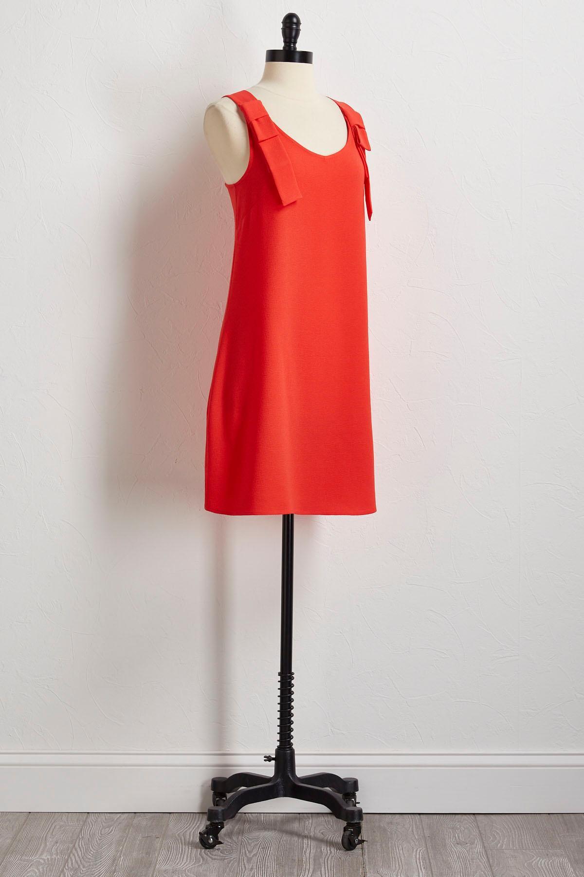Bow Shoulder Shift Dress