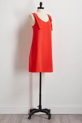 bow shoulder shift dress